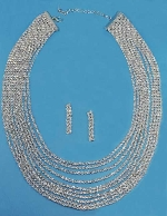 Clear/Silver Long Necklace Small Round Stone