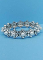 Pearl/Clear Silver Small Flower One Row Bracelet