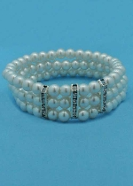 White/Clear Silver Three Stretch 3 Center Baguette Shape Bracelet