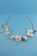 Multiple Clear/Gold Wire Tiara Flower/Stone Shape