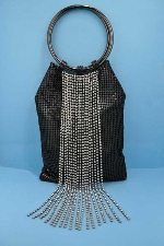 Clear/Black Dancing Rows Top Round Purse