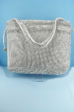 Clear/Silver Small Round Stone Purse