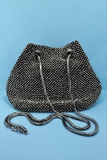 Clear/Black Small Round Stone Purse