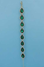 Emerald/Clear Gold One Row Pear Stone Bracelet