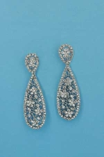 "Clear/Silver Spider Web Shape 2.5"" Post Earring"