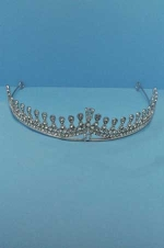 Clear/Silver One Row Drop Shape Tiara