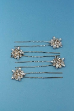 Clear/Rose Gold Top Flower Shape Bobby Pin