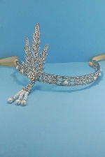 Pearl/Clear Silver Top Feather Ribbon Headband