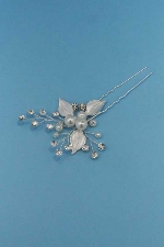 Pearl/Clear Silver Flower Shape Bobby Pin