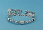 Pearl/Clear Silver Two Row Medium Round Stone Bracelet