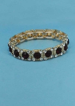 Siam Dark/Clear Gold One Row Square Shape Round Stone Stretch Bracelet