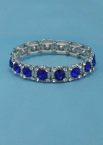 Sapphire/Clear Silver One Row Square Shape Round Stone Stretch Bracelet