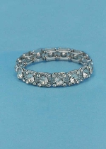 Clear/Silver One Row Square Shape Round Stone Stretch Bracelet