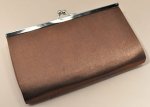 Brown/Silver Snap Clasp Satin Fabric Purse