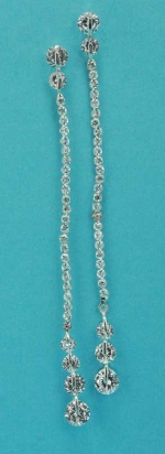 """Clear/Silver Round Stone One Row 3"""" Post Earring"""