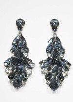 "Sapphire AB/Clear Silver Multiple Stone 4"" Post Earring"