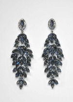 "Sapphire AB/Silver Leaves Shape 3.5"" Post Earring"