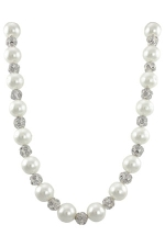 White Pearl/Clear/Silver Necklace w/Round Crystal