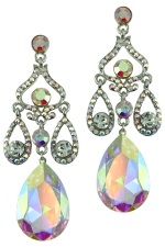 AB Clear Silver Silver 3 Tier Stones with Large Teardrop Crystals Earring