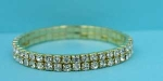 Clear Gold Two Row Round Stone Stretch Bracelet