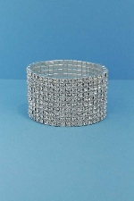Clear/Silver Ten Rows Round Stone Stretch Bracelet
