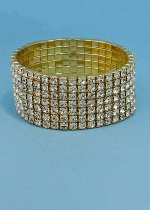 Clear/Gold Seven Rows Round Stone Stretch Bracelet