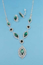 Emerald/Clear Silver Marquise Shape Small Round Stone Set