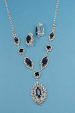 Montana Navy/Clear Silver Marquise Shape Small Round Stone Set