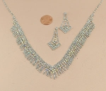 AB/Silver Rhinestone Cluster With Tassle Necklace Set