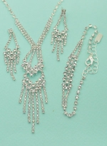 Clear/Silver Double Level Rhinestone Cluster Necklace Set