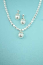 White Pearl/Clear With Large Pearl Pendant Necklace Set