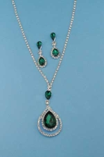 Emerald/Clear Silver Drop Shape Small Round Set