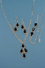 Jet/Clear Silver Three Pieces Pear Stone Set