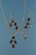 Montana Navy/Clear Silver Three Pieces Pear Stone Set
