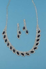 Montana Navy/Clear Silver Marquise/Small Round Stone Set