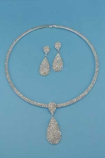 Clear/Silver Dangle Drop Shape Two Row Set