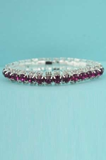 Fushia Clear Silver Stretch Bracelet