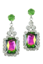 Vitrail Medium/Clear/Silver Emerald Shape Earring with Round Post