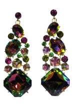 Virtual/Gold Dangle Stone Cluster Post Earring