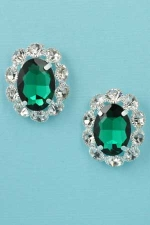"Emerald/Clear Silver Middle Oval Stone Surrounded Round Stone 1"" Post Earring"