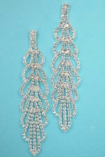 "Clear/Silver 2 Row Leaf Shape 3.5"" Earring"