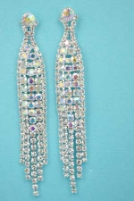 "Aurora Borealis/Clear Silver 3 Row Dancing Rows 3"" Post Earring"