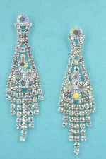 """Aurora Borealis/Clear Silver Dancing Framed Rows 2"""" Post Earring"""