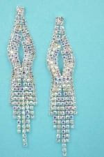 "Aurora Borealis/Silver Center Marquise Shape 3"" Post Earring"
