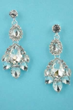 "Clear/Silver Pear Stone Framed 1.5"" Post Earring"