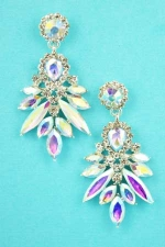 "Aurora Borealis/Clear Silver Spike 2"" Post Linked Earring"