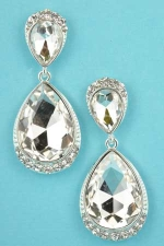 """Clear/Silver Two Pear Stone Top/Bottom Framed 2"""" Post Earring"""