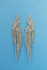 """Clear/Gold Dangle Row Round Stone 3"""" Post Earring"""