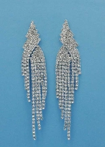 "Clear/Silver Dangle Row Round Stone 3"" Post Earring"