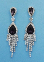 Amethyst/Clear Silver Two Linked Stone Dangle Rows Earring